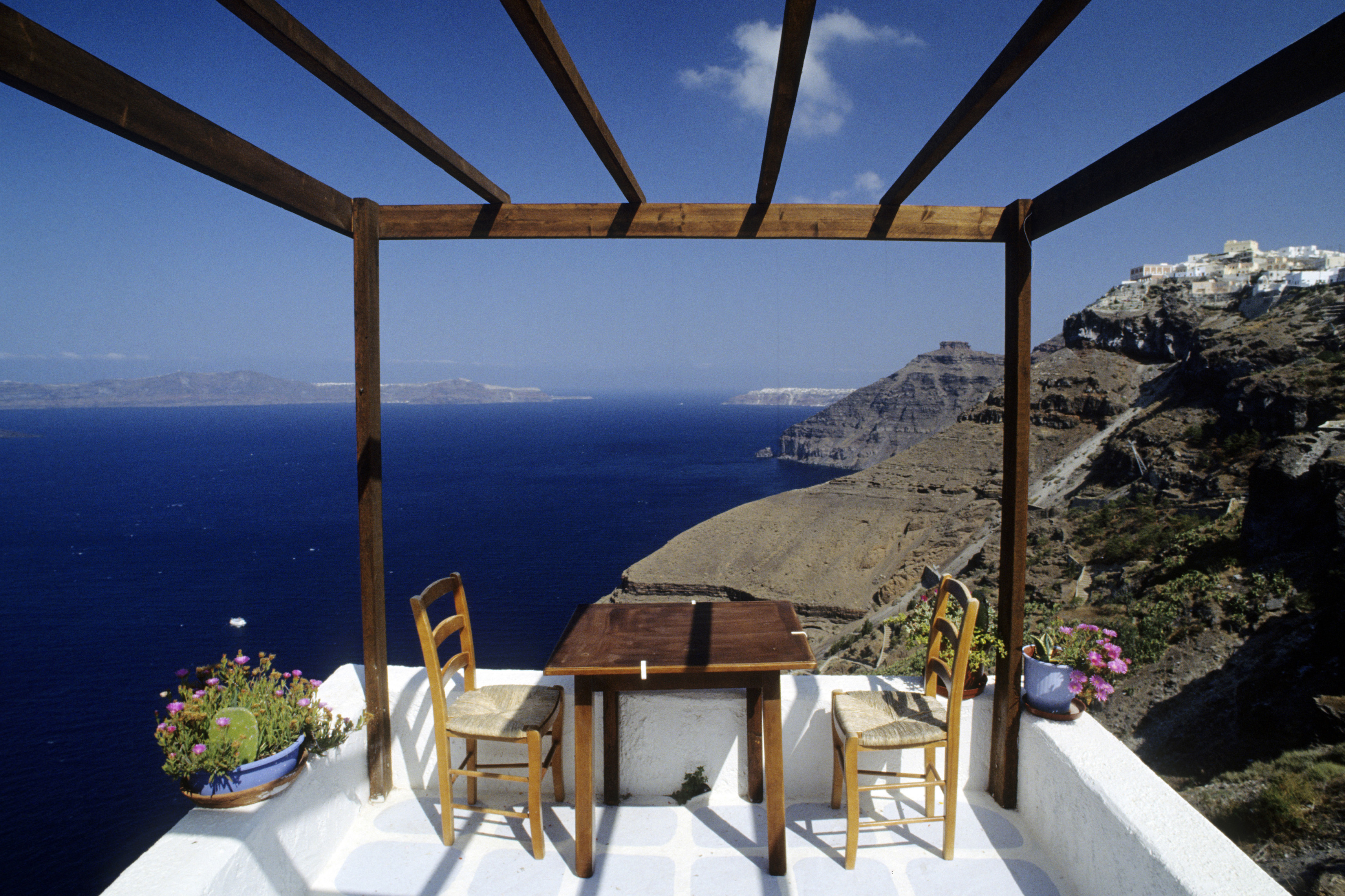 greece, santorini, fira, terrace looking the sea