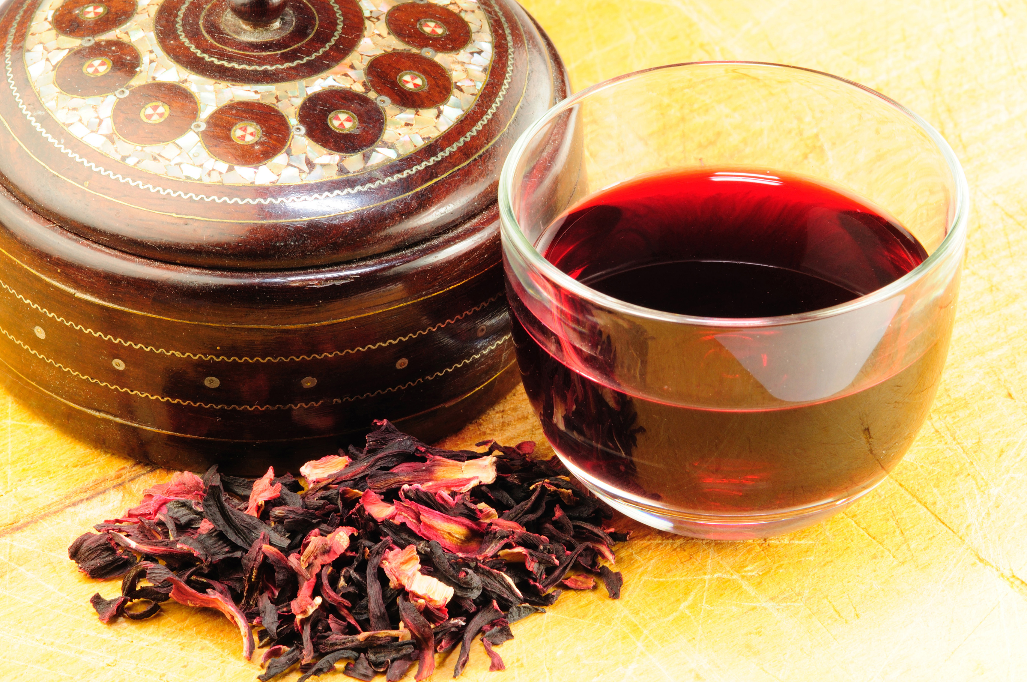 a cup of karkade tea, indian sorrel