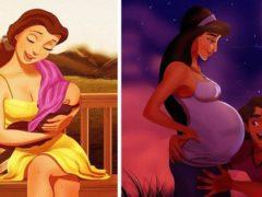 Cum ar arăta Prințesele Disney dacă ar deveni mame